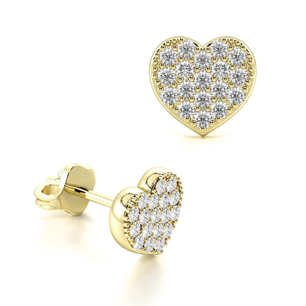 Pave Setting Round Diamond Heart Shape Cluster Earrings For Women (5.60mm X 6.0mm)