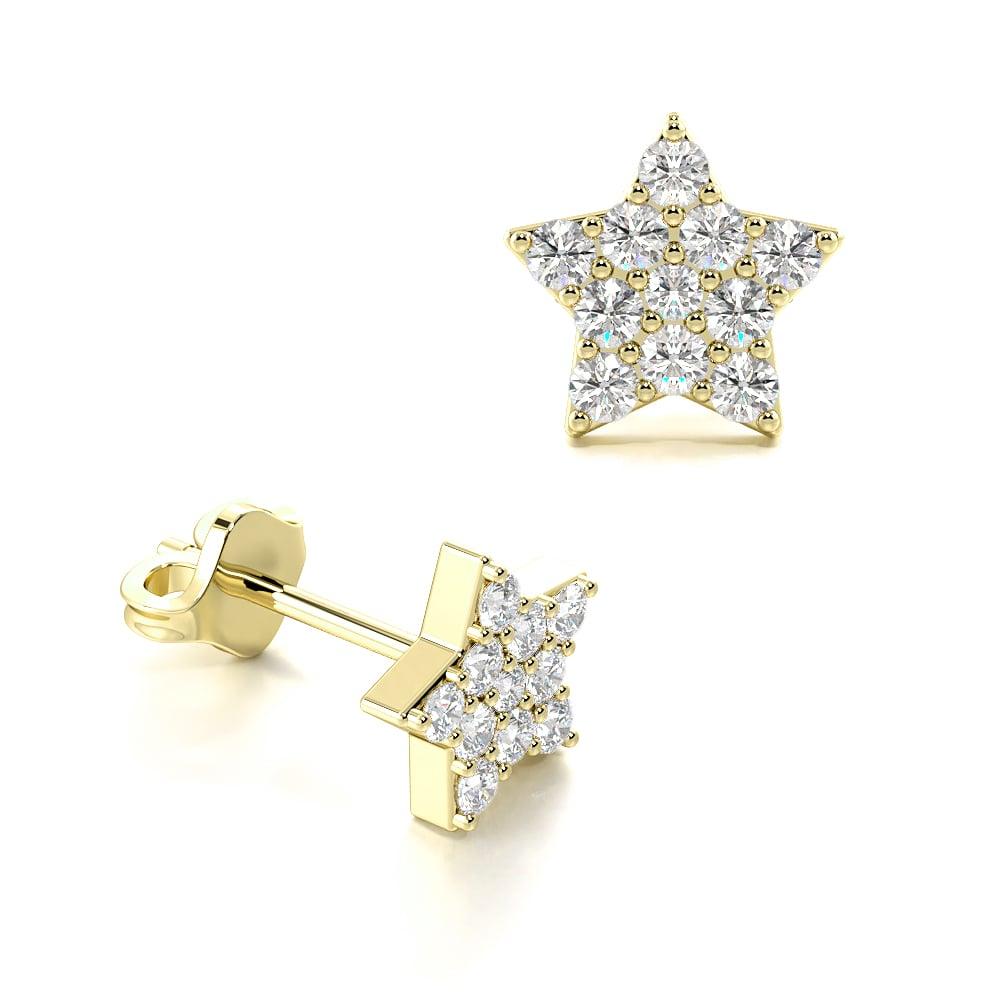 Pave Setting Round Diamond Start Shape Cluster Earrings (5.70mm)