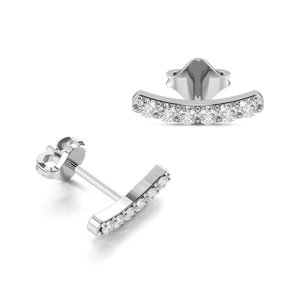Curved Bar Diamond Stud Earrings / Christmas Gift