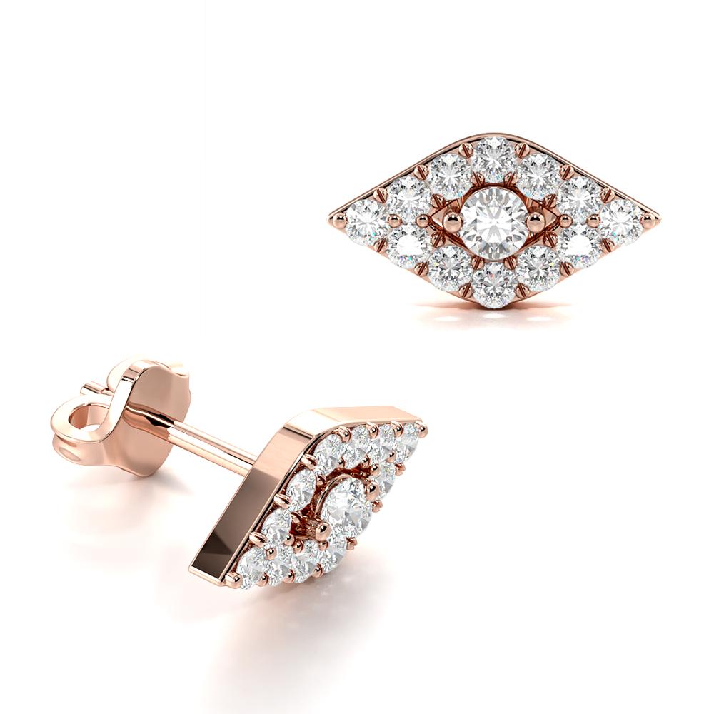 Devil Eye Cluster Diamond Earrings / Gift for Her
