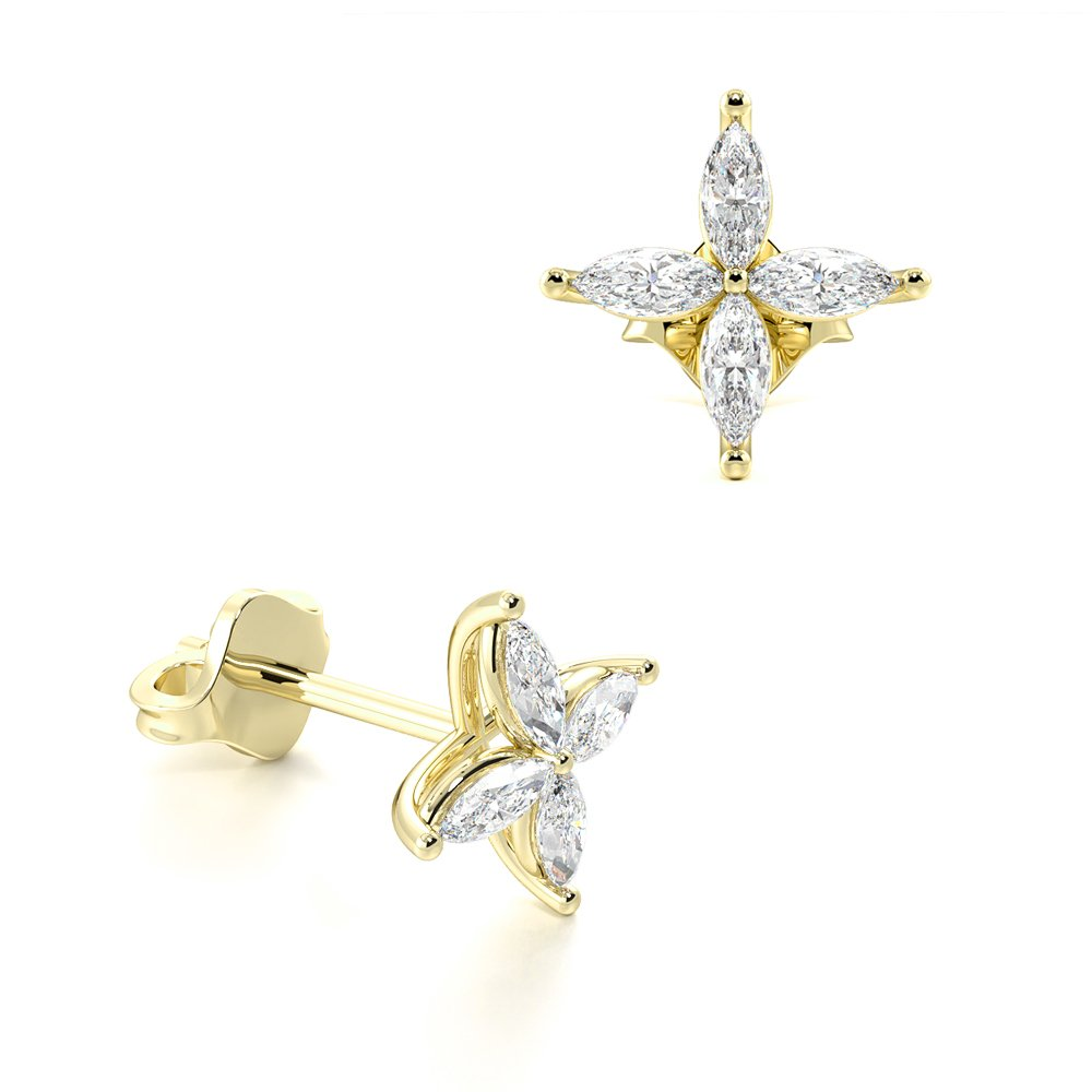 Marquise Start Cluster Diamond Stud Earrings / Exclusive Gift (8.3mm & 9.0mm)