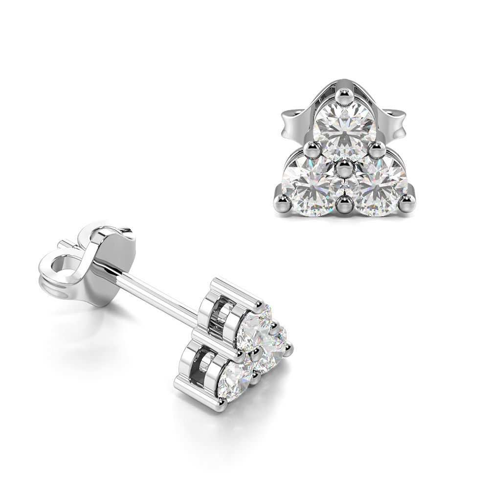 3 Diamonds Triangle Shape Diamond Stud Earrings (5.3mm)