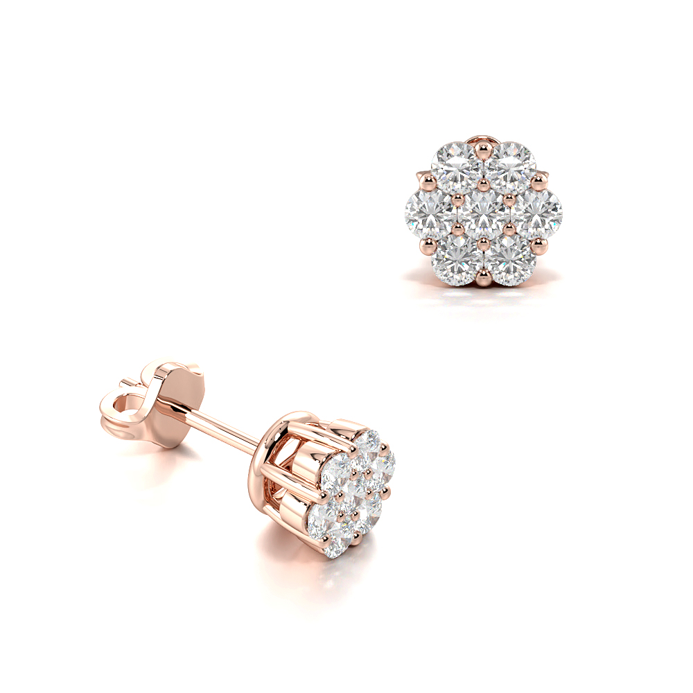 d7a26bd7f1be7 Buy Prong Setting Round Diamond Fashion Cluster Earrings | ABELINI™