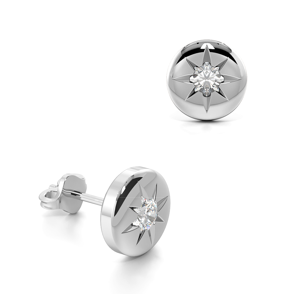 Flush Setting Round Diamond Stud Earrings For Mens and Women  (6.00mm)