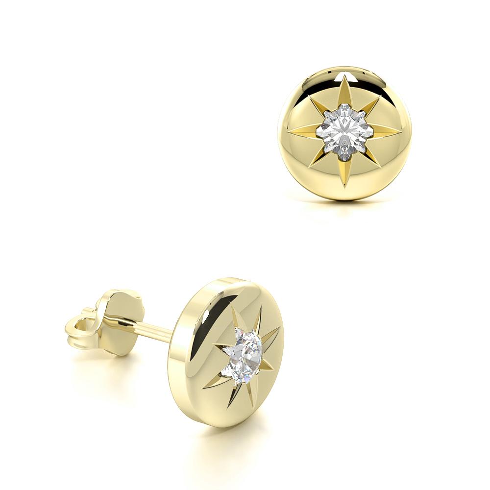 Flush Setting Round Diamond Stud Earrings For Mens and Women  (6.00mm)