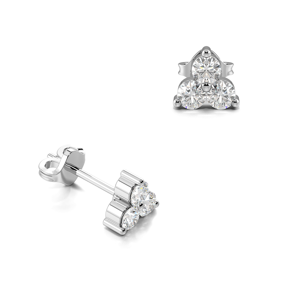Prong Setting Tiny Trilogy Cluster Diamond Stud Earrings (3.80mm X 4.20mm)