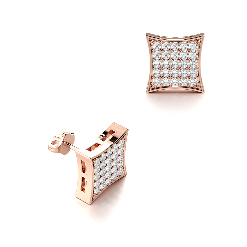 Pave Setting Round Cut Diamond Large Square Cluster Mens Earrings (7.70mm)