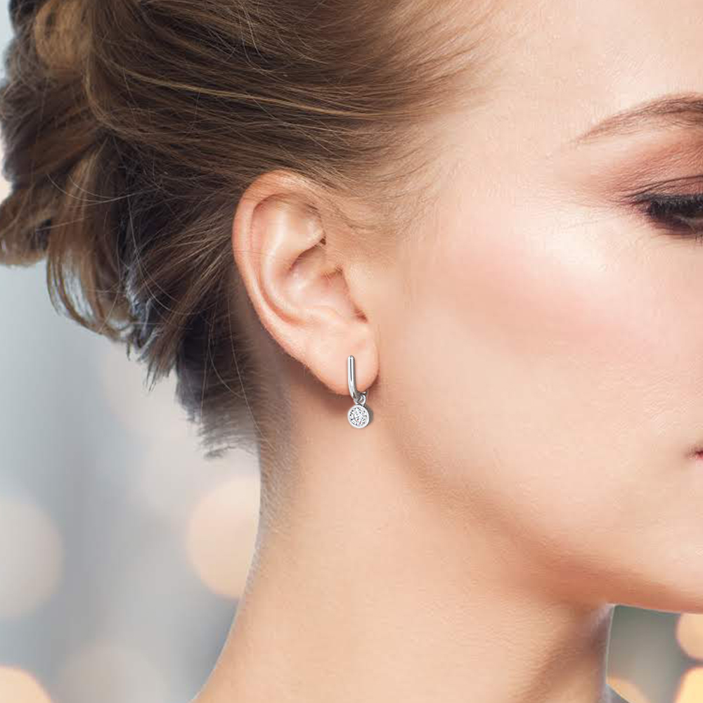 Bezel Setting Round Diamond  Small Hoop Drop Earrings (6.50mm)