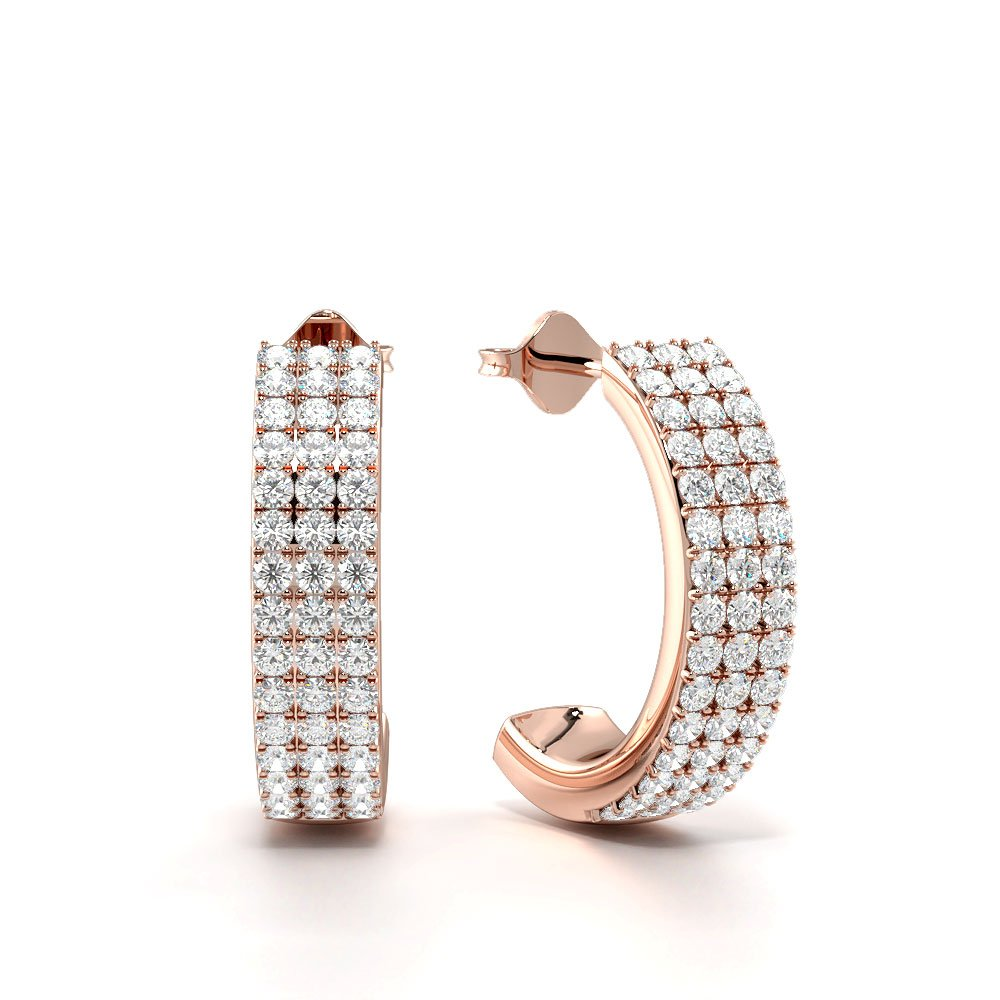 Exclusive Three Raw Open Hoop Diamond Earrings in Gold & Platinum (16.60mm X 4.2mm)