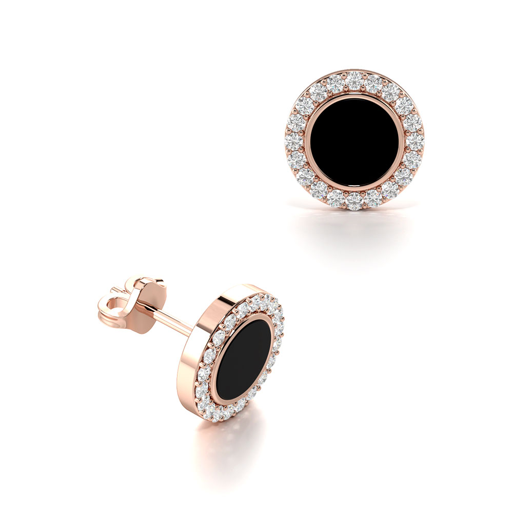 Diamonds With Black Onyx in Centre Mens Diamond Earrings (8.50mm)