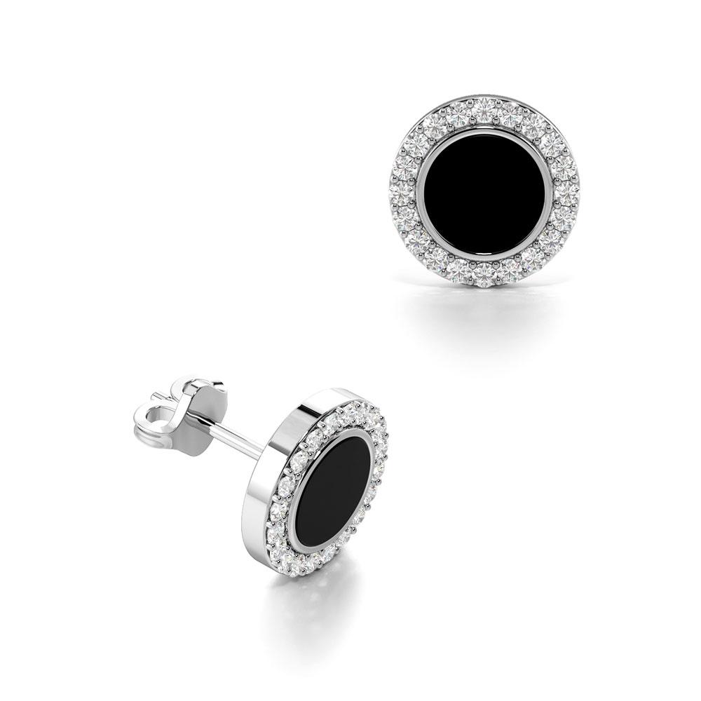 Diamonds With Black Onyx in Centre Mens Diamond Earrings (8.50mm)