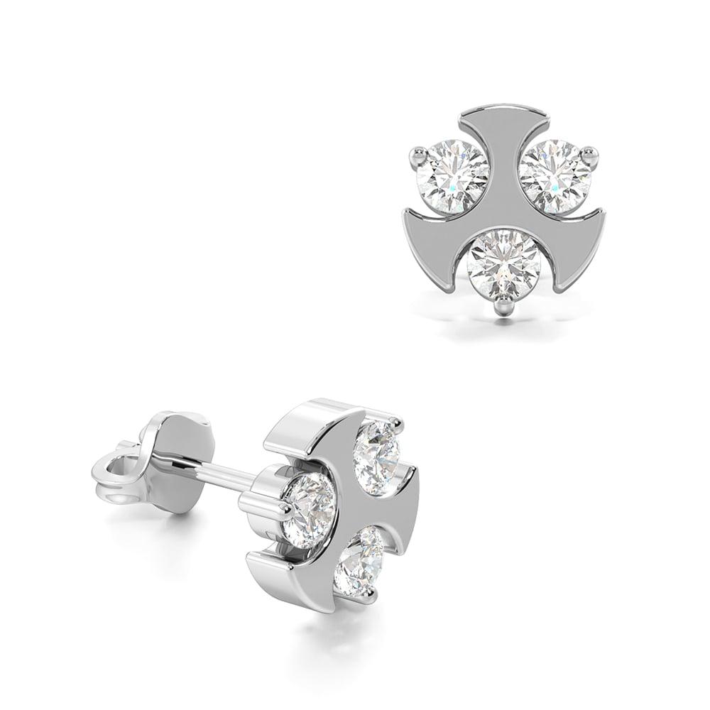 Stylish Three Diamonds Diamond Stud Mens Diamond Earrings (6.50mm)