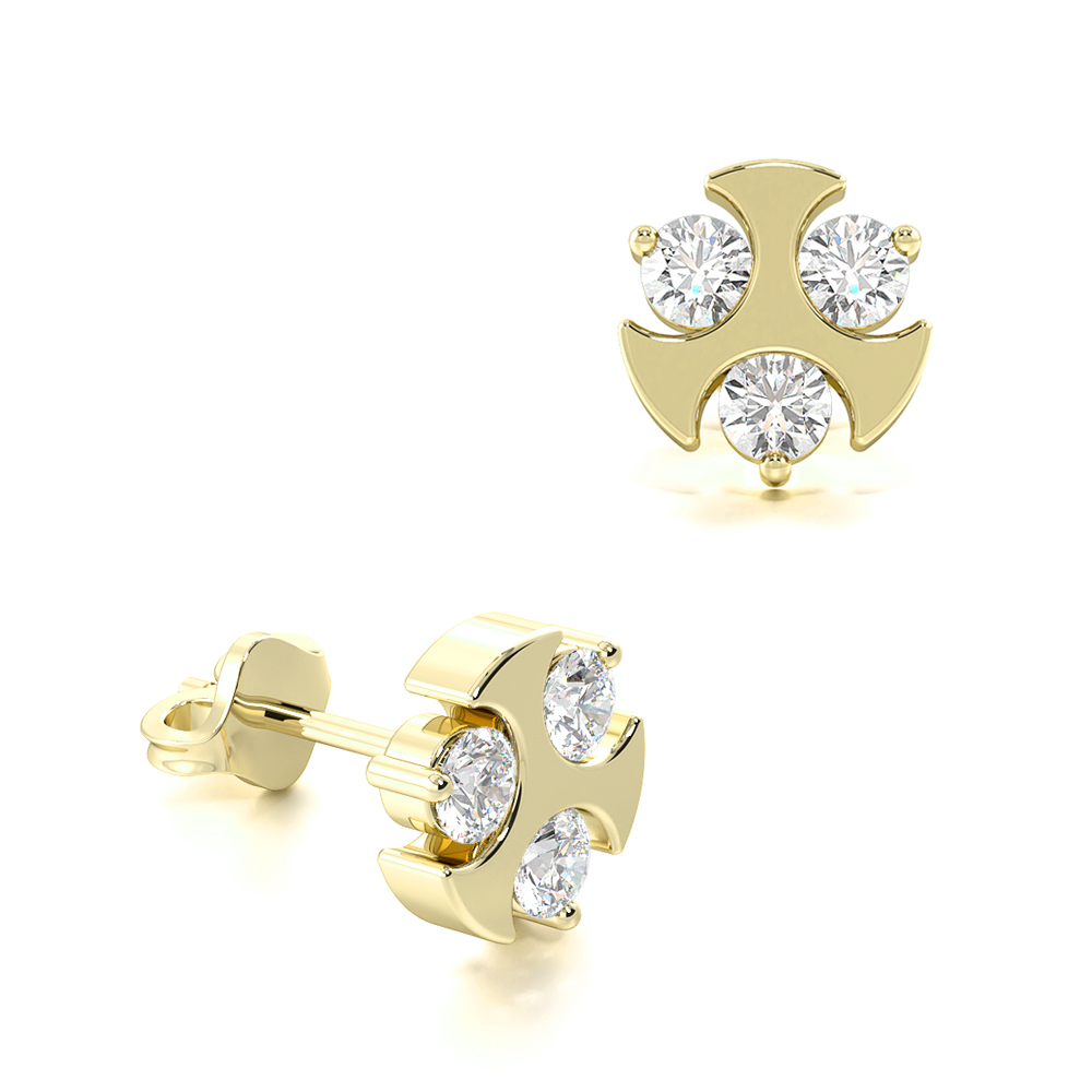 Stylish Three Diamonds Diamond Stud Mens Diamond Earrings (6.50mm)