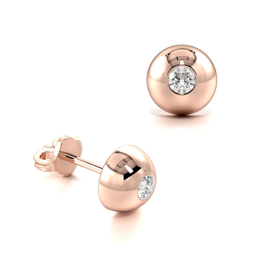 Half Ball Flush Setting Round Diamond Earrings for Men (4.80mm)