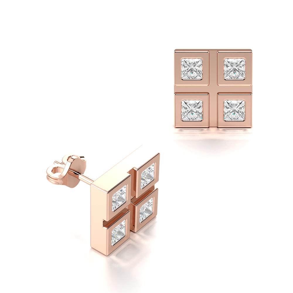 Four Square Diamonds Set in Flush Setting Diamond Earrings for Men (8.00mm)
