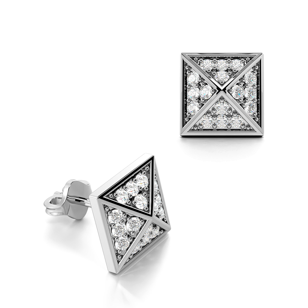 Pave Set Diamond in Pyramid Shape Mens & Women Diamond Earrings (6.70mm)