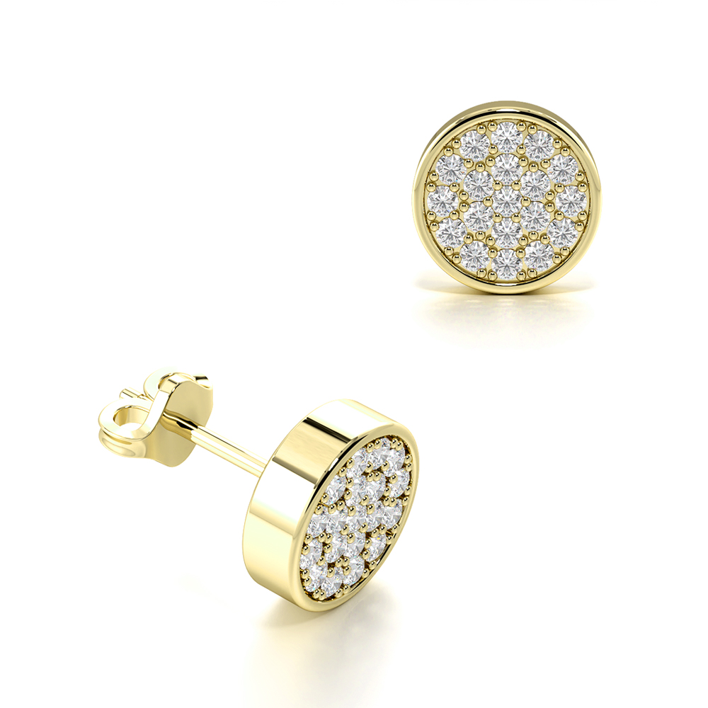 Pave Set Cluster Diamond Stud Earrings for Mens and Women (6.40mm)