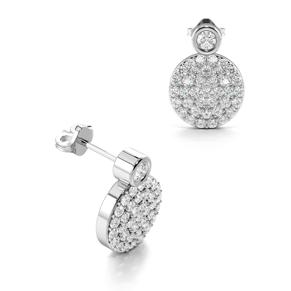 Pave Set Circle Disc Diamond Cluster Earrings in Gold & Platinum (10.40mm X 7.30mm)