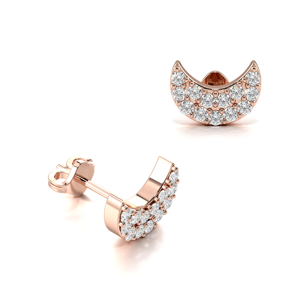 Half Moon Shape Diamond Cluster Earrings in All Three Colour of Gold & Platinum (4.30mm X 6.30mm)
