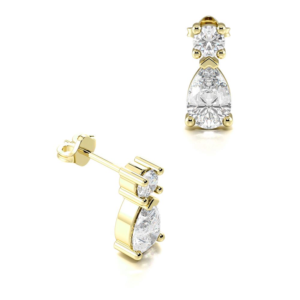 Stylish Pear Shape Tear Drop Diamond Stud Earrings  (8.50mm X 3.80mm)