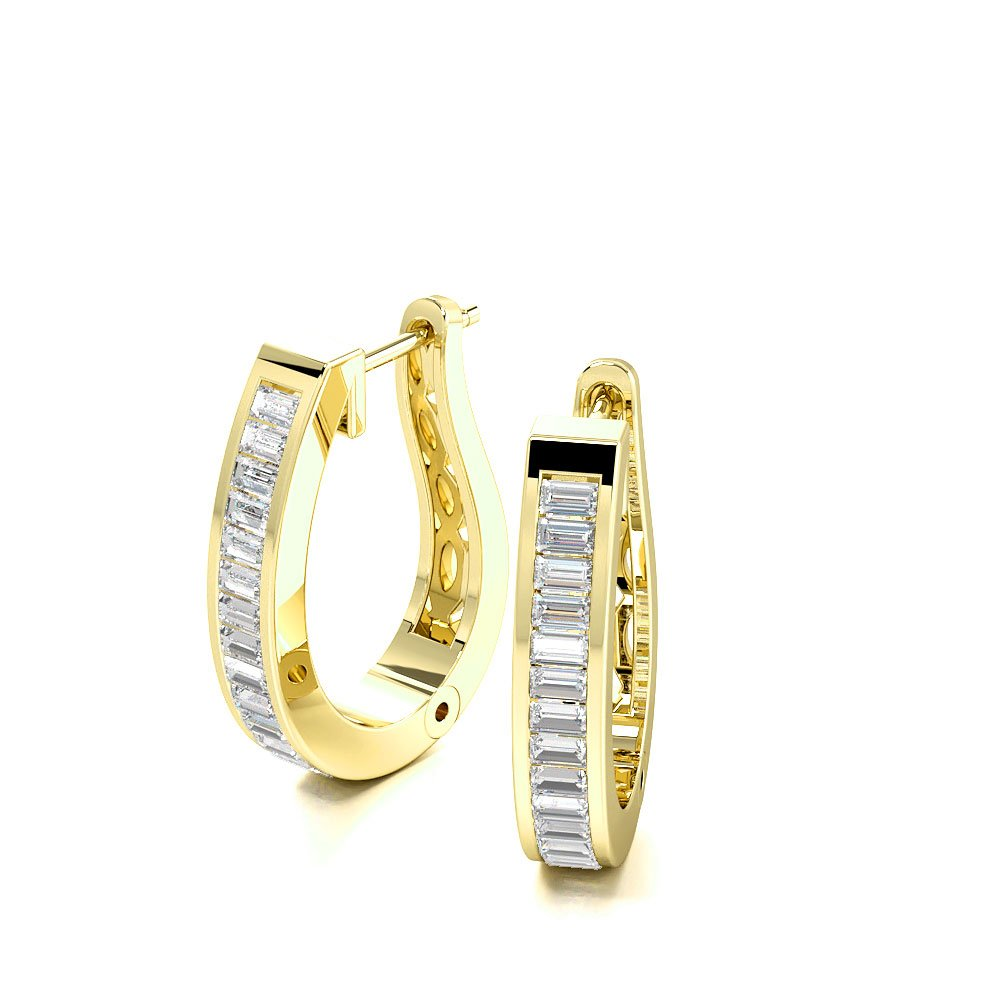 Platinum and Gold Channel Set Baguette Diamond Hoop Earrings  (19.0mm X 4.0mm)
