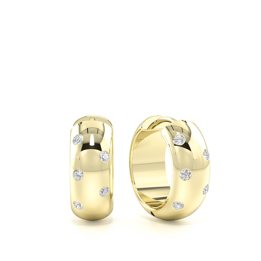 Small Wide Diamond Hoop Earrings for Mens and Women (13.00mm X 14.00mm)