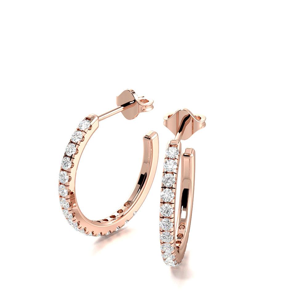 Delicate Prong Setting Open End Diamond Hoop Earrings (14.00mm X 15.00mm)