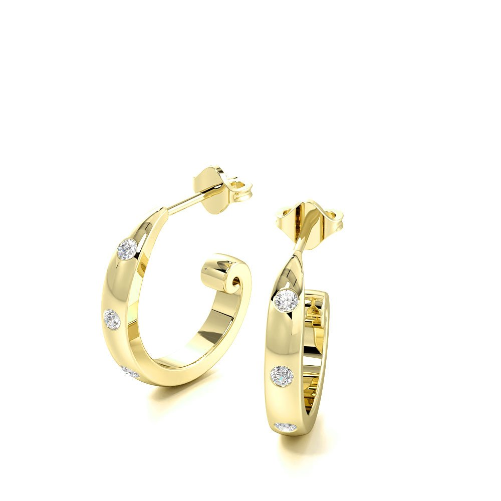 Flush Set Diamond in Plain Gold Diamond hoop Earrings (11.30mm X 11.30mm)
