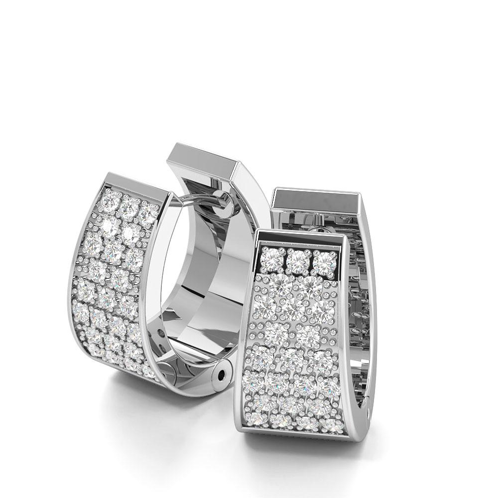 Exclusive Designer Cluster of Diamond Set in Pave Wide Hoop Earrings (15mm X 9.3mm)