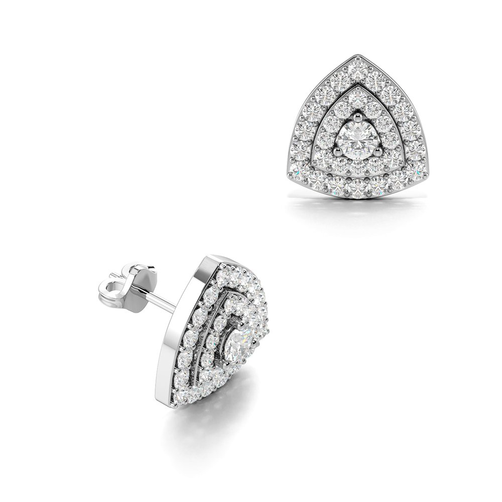 Trillion Shape Round Cut Diamonds Halo Cluster Diamond Earrings (8.5mm)