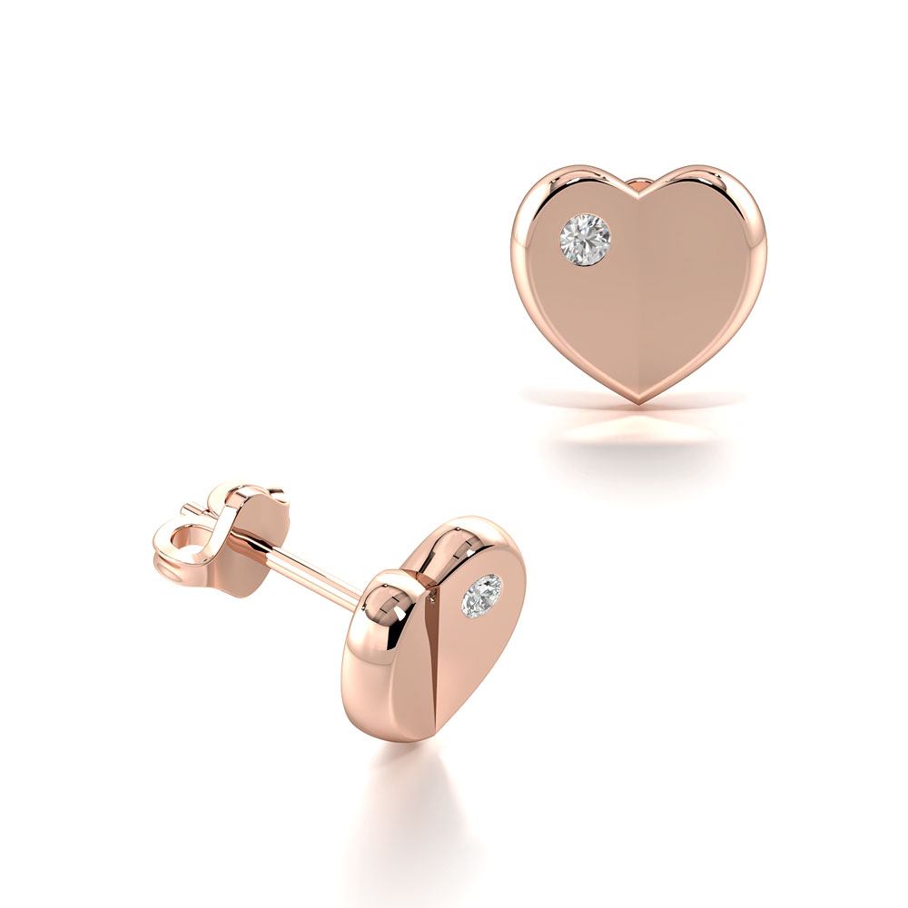Solid Gold Heart Diamond Designer Stud Earrings for Women (6.70mm X 7.00mm)