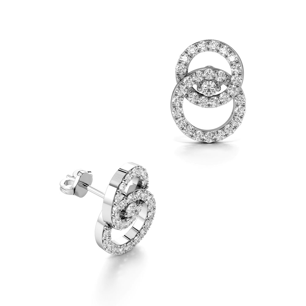 Pave Setting Interlocking Double Circle Diamond Designer Earrings  (12.00mm X 9.00mm)