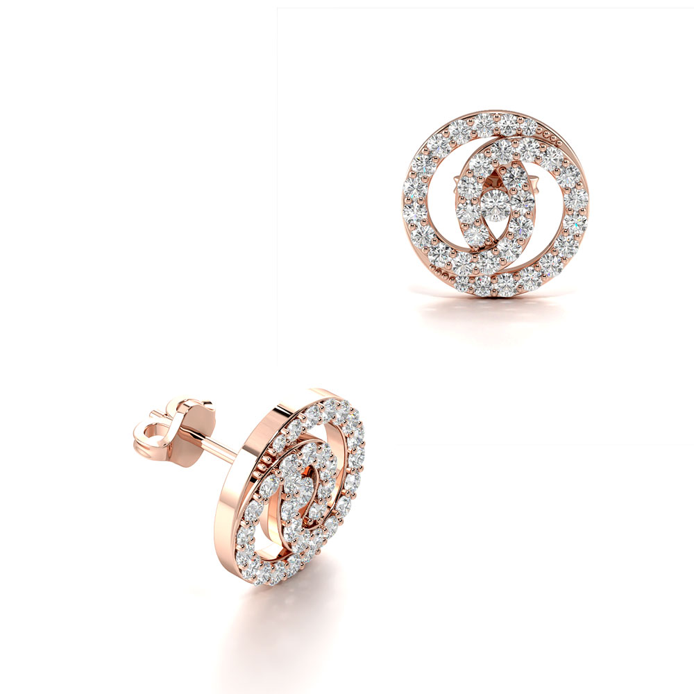 Pave Setting Round Shape Double Circle Designer Cluster Diamond Earrings (9.50mm)