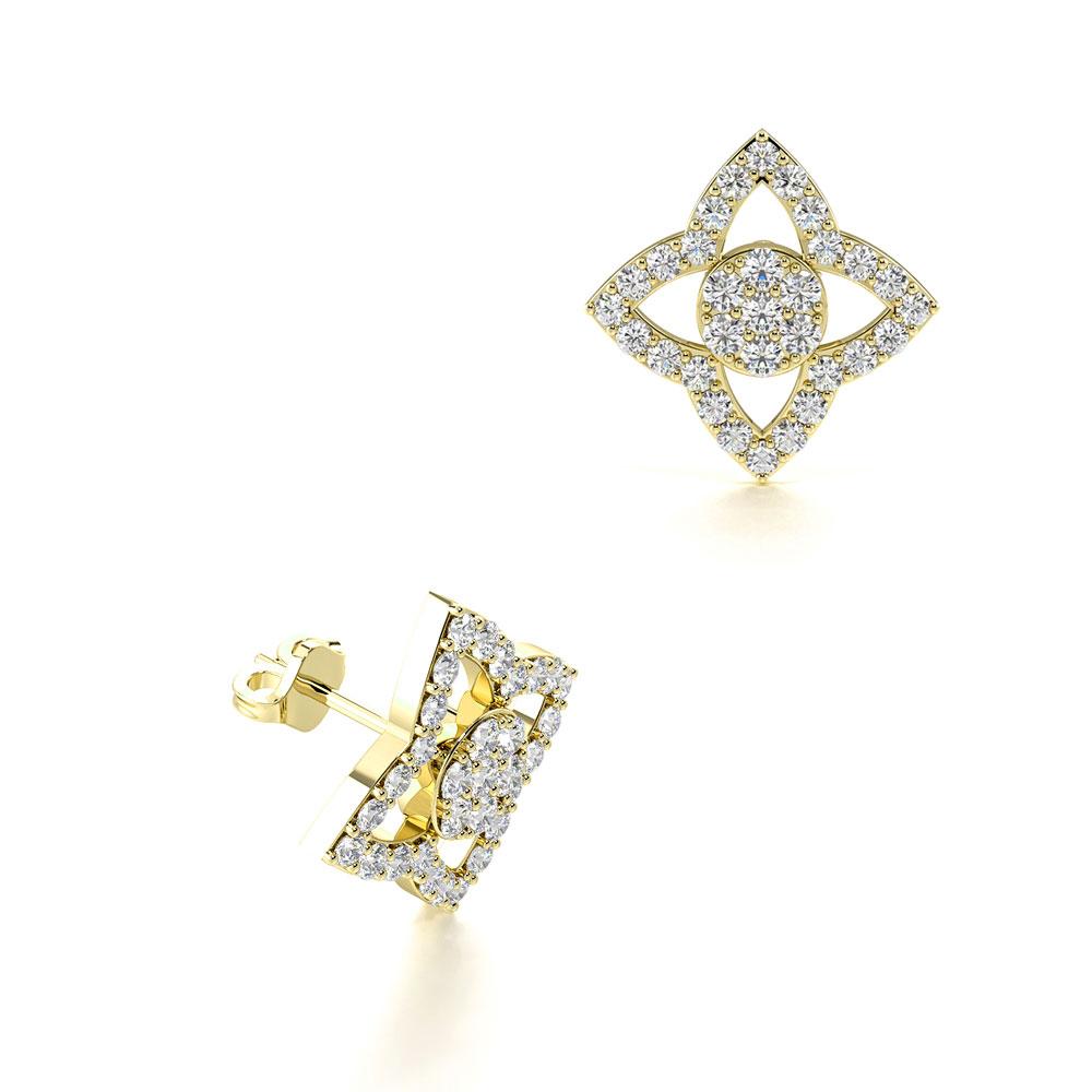 Pave Setting Flower Petal Designer Cluster Diamond Earrings (13.70mm)