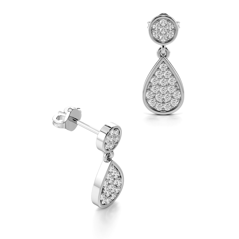 Pave Setting Tear Drop Designer Diamond Stud Earrings for Women (13.30mm X 5.50mm)