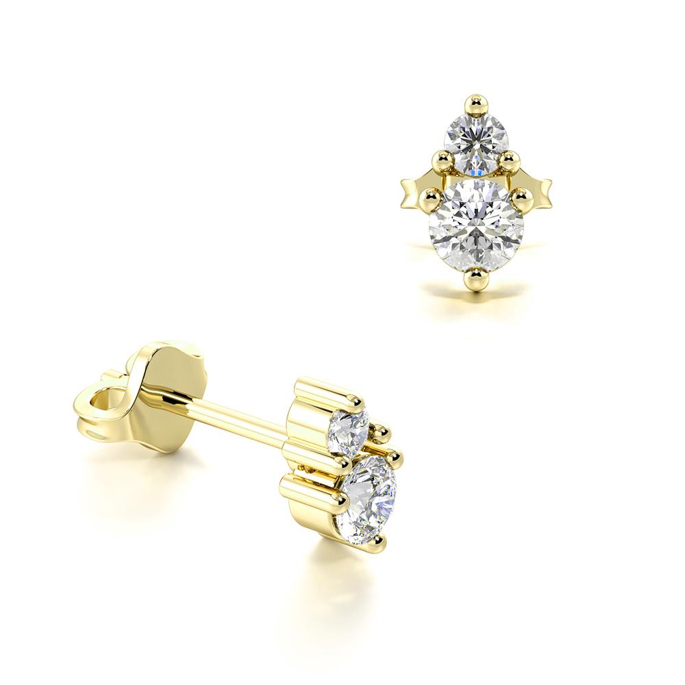 Prong Setting Round Shape Double Diamond Stud Drop Earrings (4.30mm X 2.60mm)