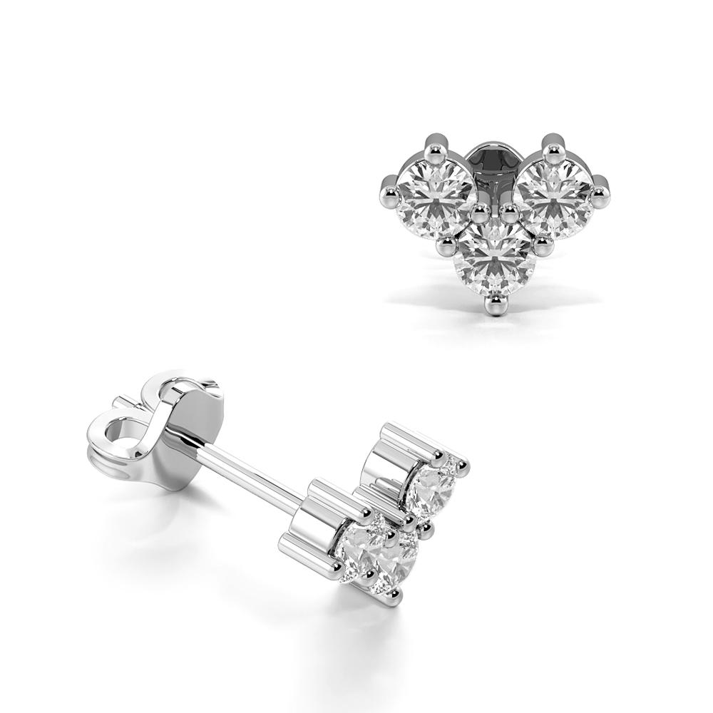 Prong Setting Round Shape Chevron Designer Stud Diamond Earrings (4.00mm X 5.20mm)