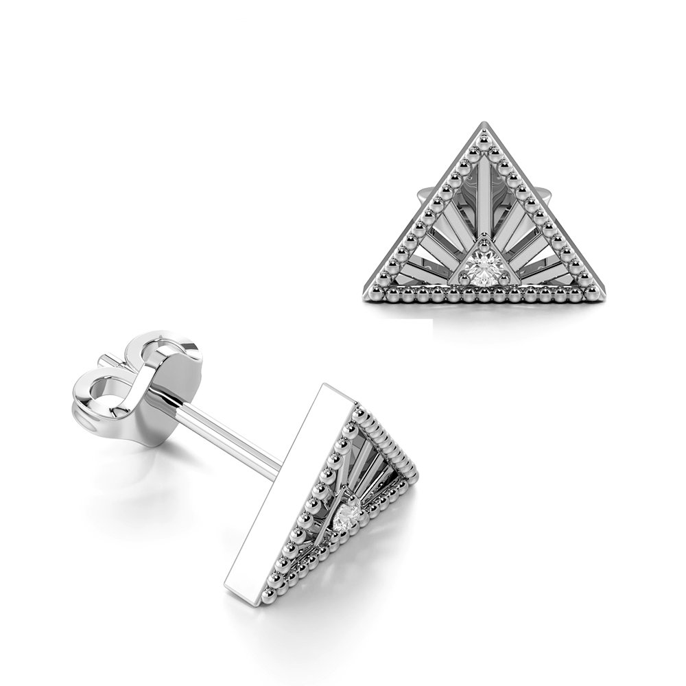 Prong Setting Round Shape Vintage Triangle Designer Diamond Stud Earrings (5.50mm X 7.50mm)