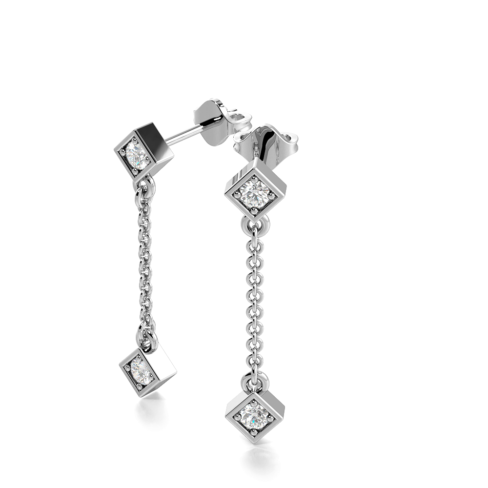 4 Prongs Round Shape Diamond Long Drop Earrings  (20.0mm X 3.90mm)