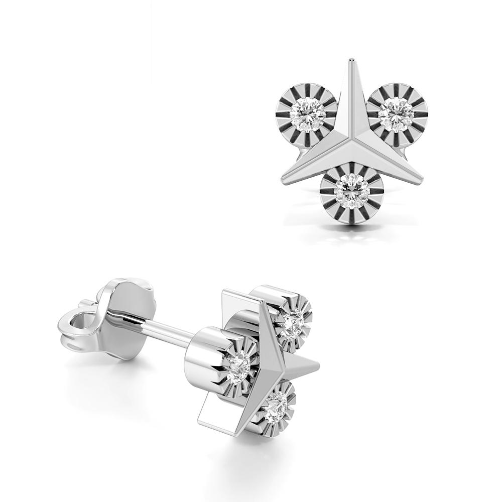 Round Shape Illusion Set Spear Designer Diamond Stud Earrings (7.80mm X 7.20mm)
