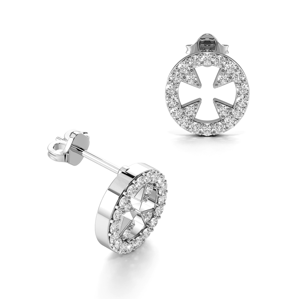 Pave Setting Round Shape Circle of Life Designer Diamond Stud Earrings (8.70mm)