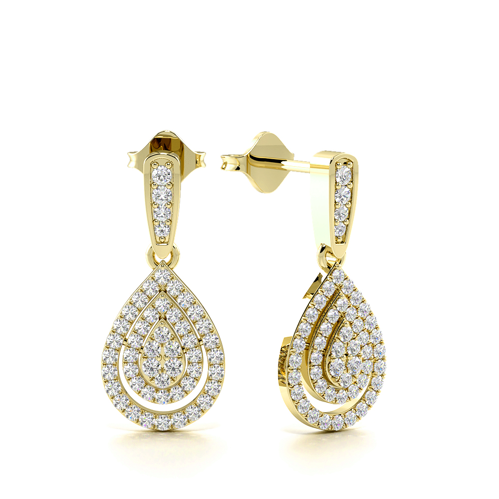 Pave Setting Round Shape Exclusive Diamond Drop Earrings  (16.50mm X 11.70mm)