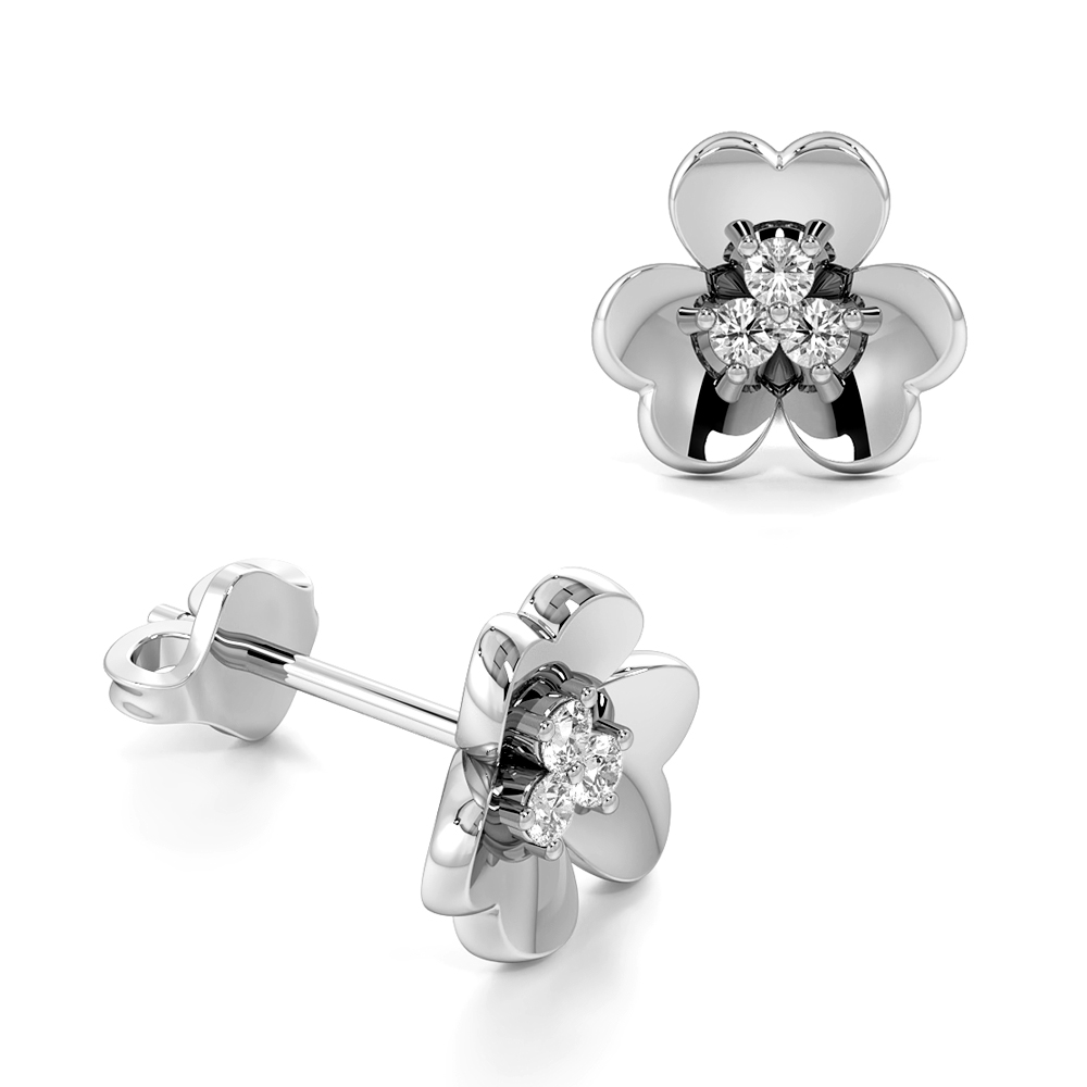4 Prongs Round Shape Triple Diamonds Clover Designer Stud Diamond Earrings (7.00mm X 7.50mm)