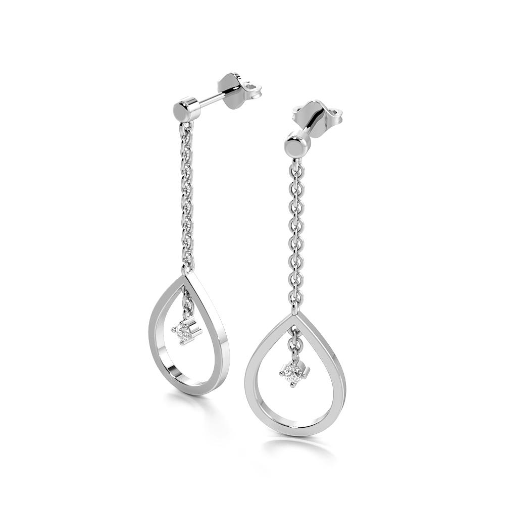 Prong Setting Round Shape Dropping Designer Diamond Stud Earrings (17.00mm X 11.50mm)