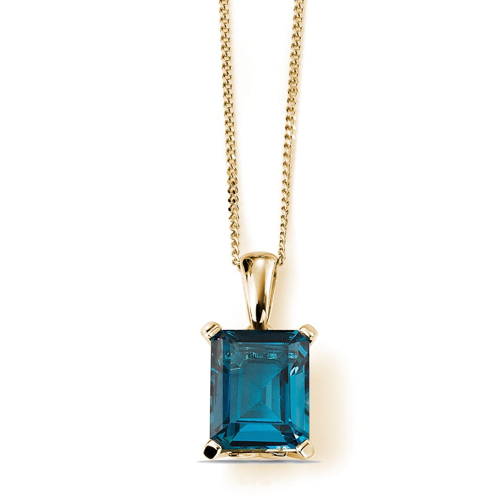 Exclusive 4 Claw Setting Blue Topaz Pendant (17mm X 5mm)