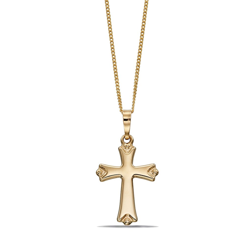Plain Byzantine Cross Pendant in Gold and Platinum (16.5mm X 8mm)