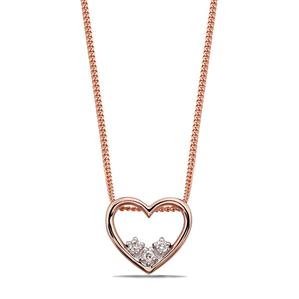 Delicate Heart Dainty Diamond Necklace (27mm X 14.5mm)