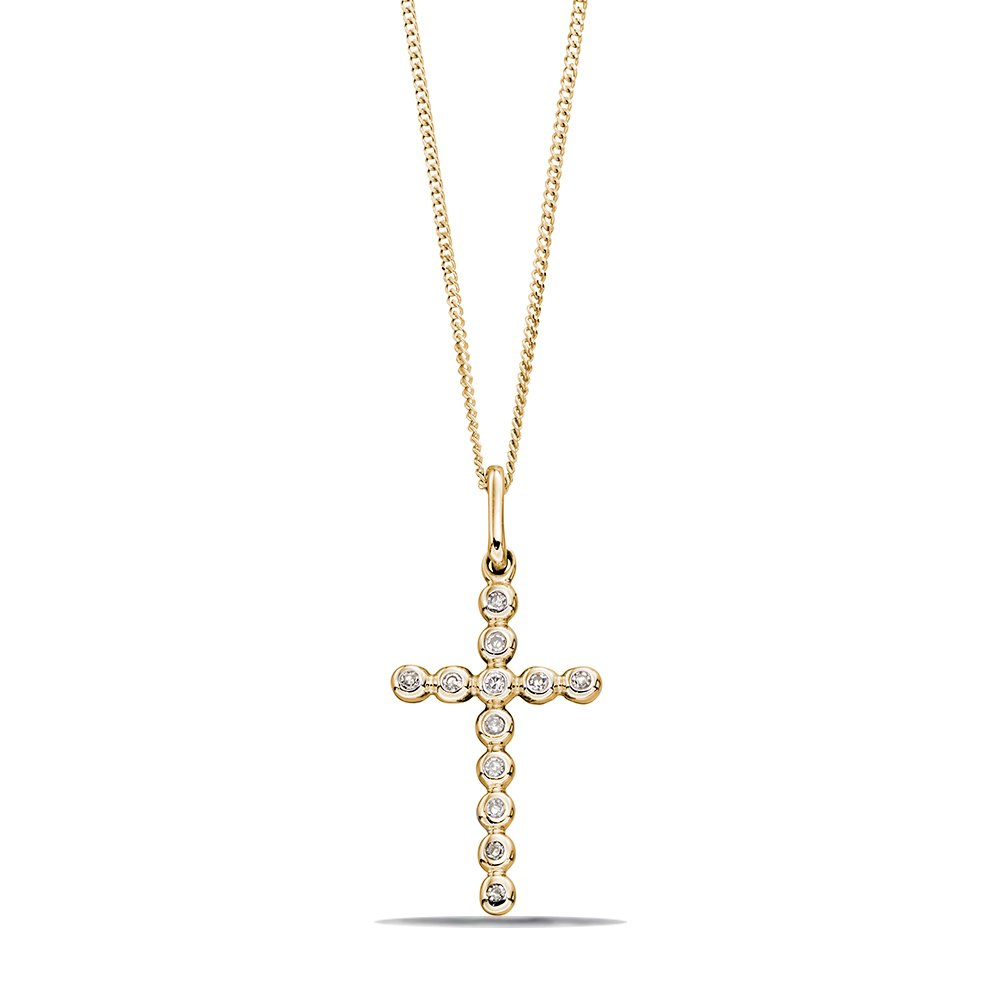 Rub over Must Have Diamond Cross Pendant Necklace (18mm X 9mm)