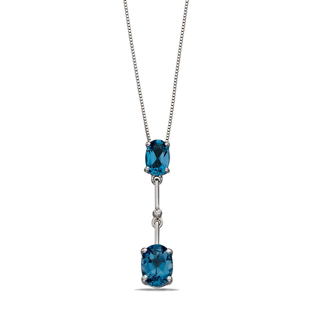 Blue Topaz Stick Drop Diamond Pendant (25mm X 5mm)