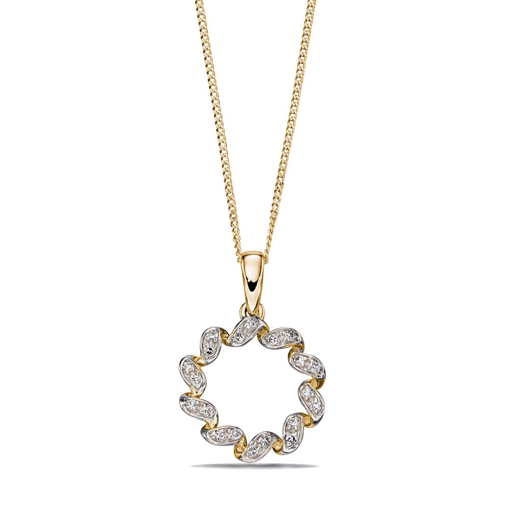 Exclusive Designer Ribbon Twist Diamond Necklace (18mm X 13mm)